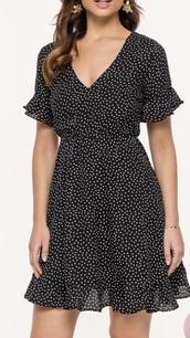 dress,9&co. 100% polyester,v neck dress,mini dress,holiday dress,festival dress,stars,black dress