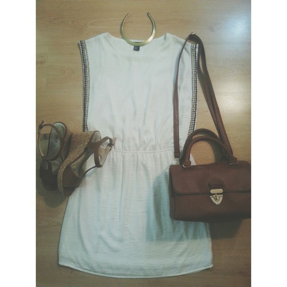 brown bag shoes white dress gold necklace clothes casual cocktail dress outfit ootd primark simple dress