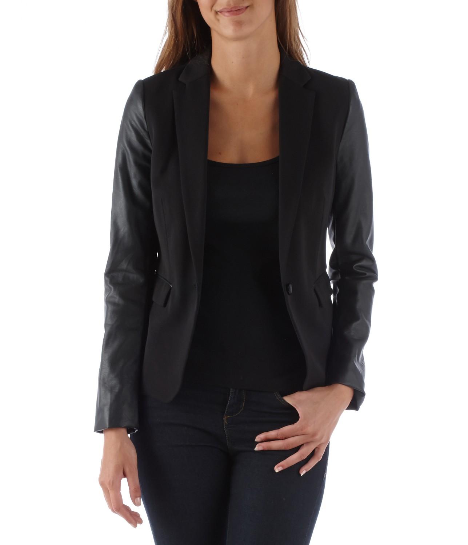Veste de tailleur femme bi-matière - Vestes et Manteaux Camaieu - Pret a porter féminin, mode et tendance