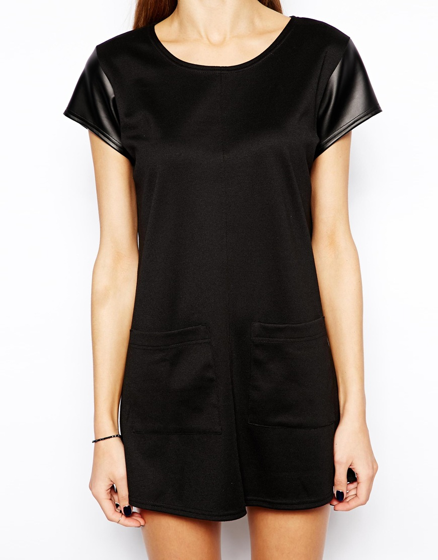 Oh my love boxy smock dress with pu sleeves at asos.com