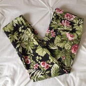 pants,tropical,floral,boho,chic,green,flowers,pink,perfect,jeans,black,denim,jungle,tumblr,print,floral pants,bottom