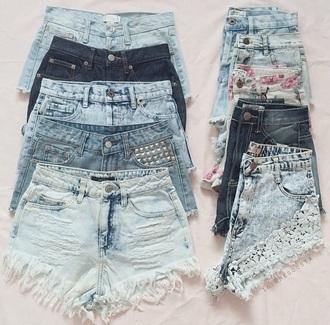 shorts high waisted denim shorts lace shorts ripped shorts light washed denim medium wash