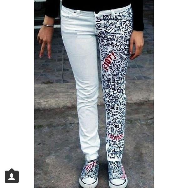 jeans white half