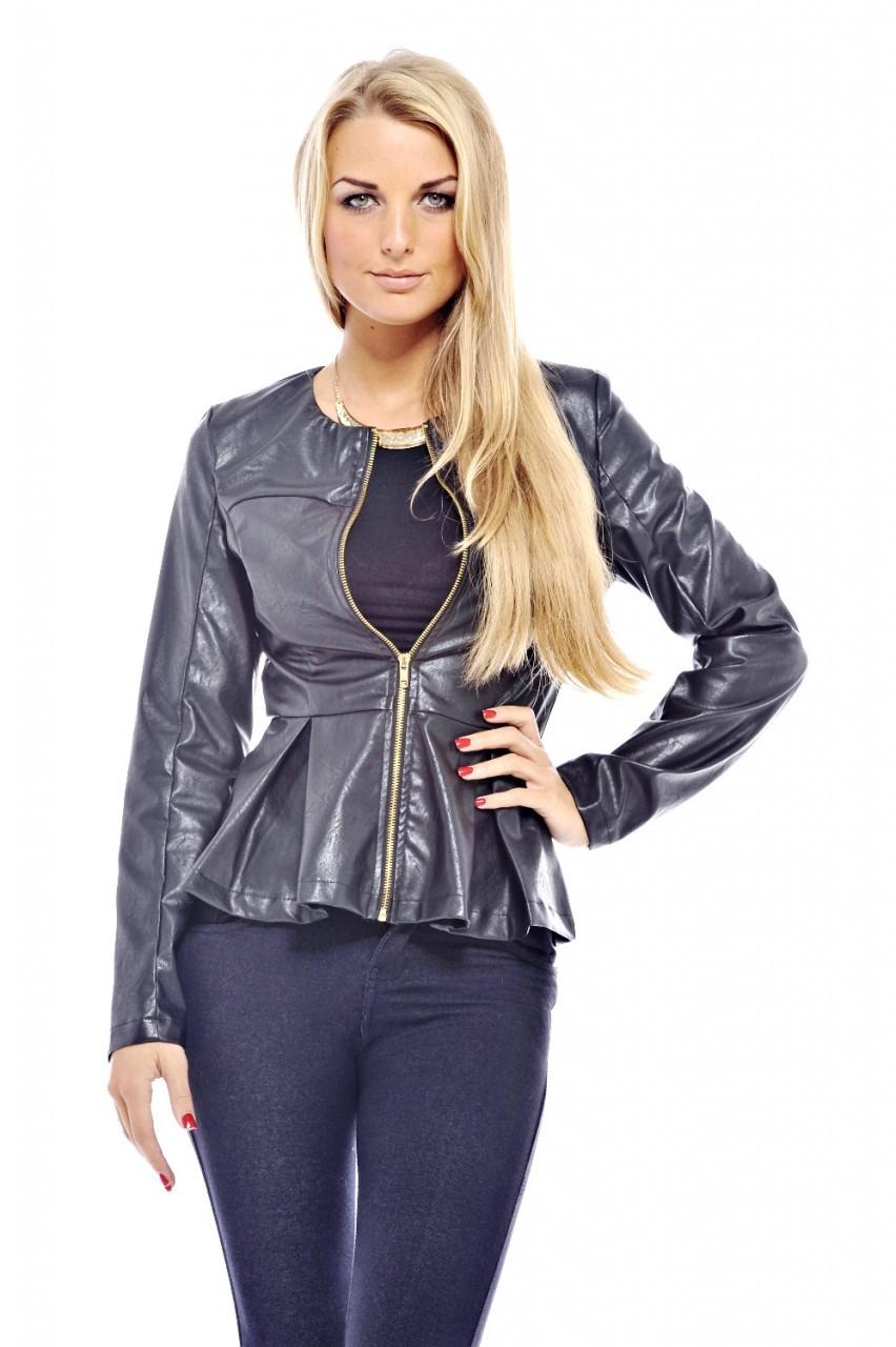 Black Faux Leather Peplum Jacket