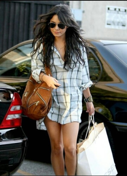 plaid plaid shirt shirt vanessa hudgens button up rolled sleeves shirtdress oversized