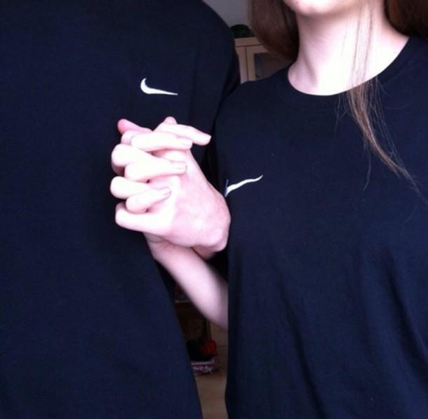 shirt black navy nike t-shirt grunge pale couple aesthetic tumblr internet