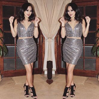 top sequins pewter matching set sequin outfit going out angl two piece dress set