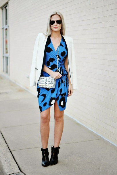 b soup blogger dress blue dress draped blazer