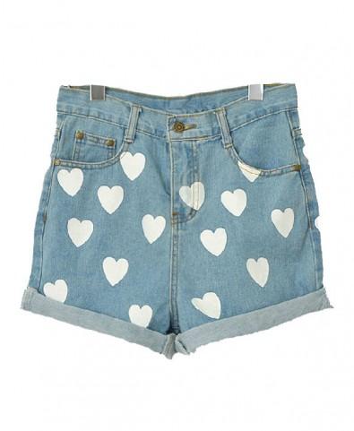 Roll Up Hem Denim Shorts with Contrast Heart Print