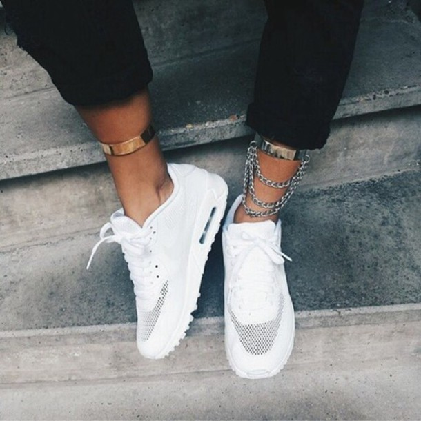 max white white sneakers nike sneakers gold girly fashion trendy shoes