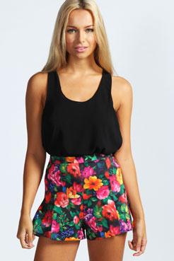 Ayana Floral Print Shorts at boohoo.com