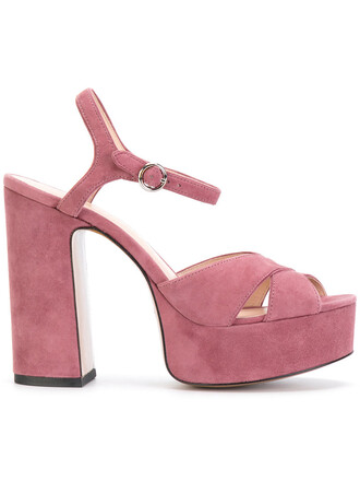 women sandals platform sandals leather suede purple pink shoes