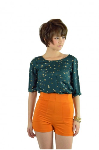 High-Waisted Shorts in Orange (S) - Bottoms - In Store