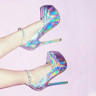 shoes pastel colors high heels colorful bright cute colors follow is follow back. holographic