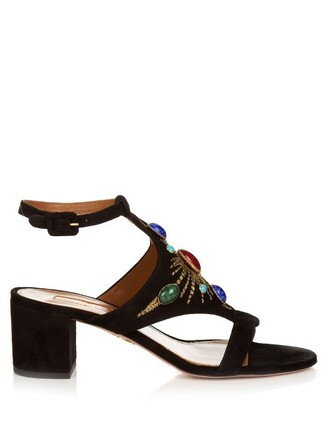 sun sandals suede black shoes