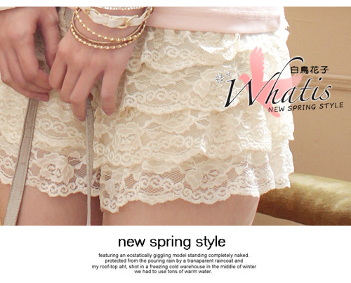 Free Shipping Japanese and Korean summer new All Match patchwork Lace ladies lace Basic shorts(BK White Beige)131122#8-in Shorts from Apparel & Accessories on Aliexpress.com