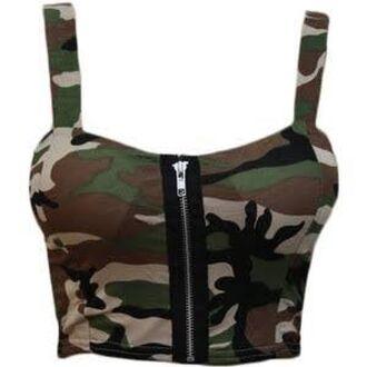 top crop tops zip camouflage singlet army green