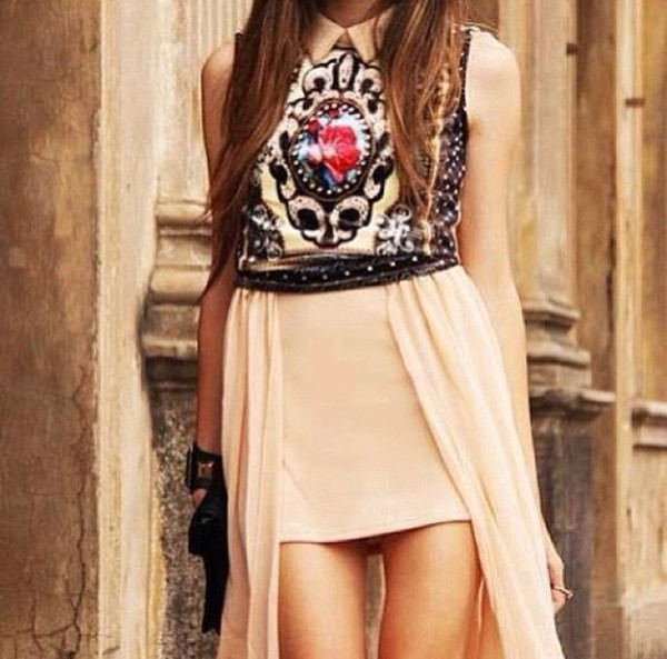 dress maxi dress beige dress top