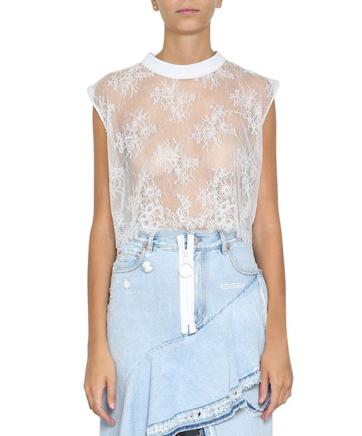 Off-White top lace top lace floral