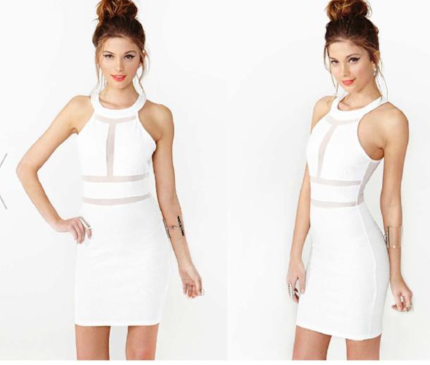 Dress White Dress Mesh Cut Out Prom Dress Nastygal Wheretoget