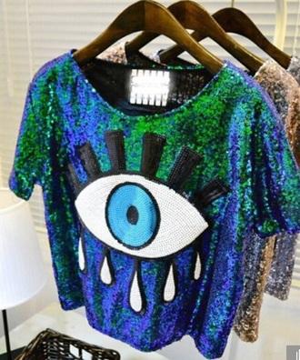 blouse sparkle sequins sequin shirt green sequin blue sequin blue green blue green eye the eyeball shirt eyeball eye shirt one eye shirt glitter glitter shirt