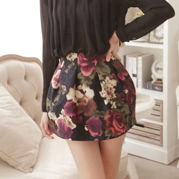 skirt skirt floral printed skirt vintage fashion trendy