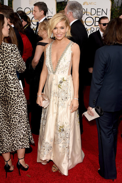 dress sienna miller miu miu red carpet dress Golden Globes 2015