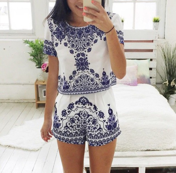 romper greek match set shirt shorts top jumpsuit two-piece