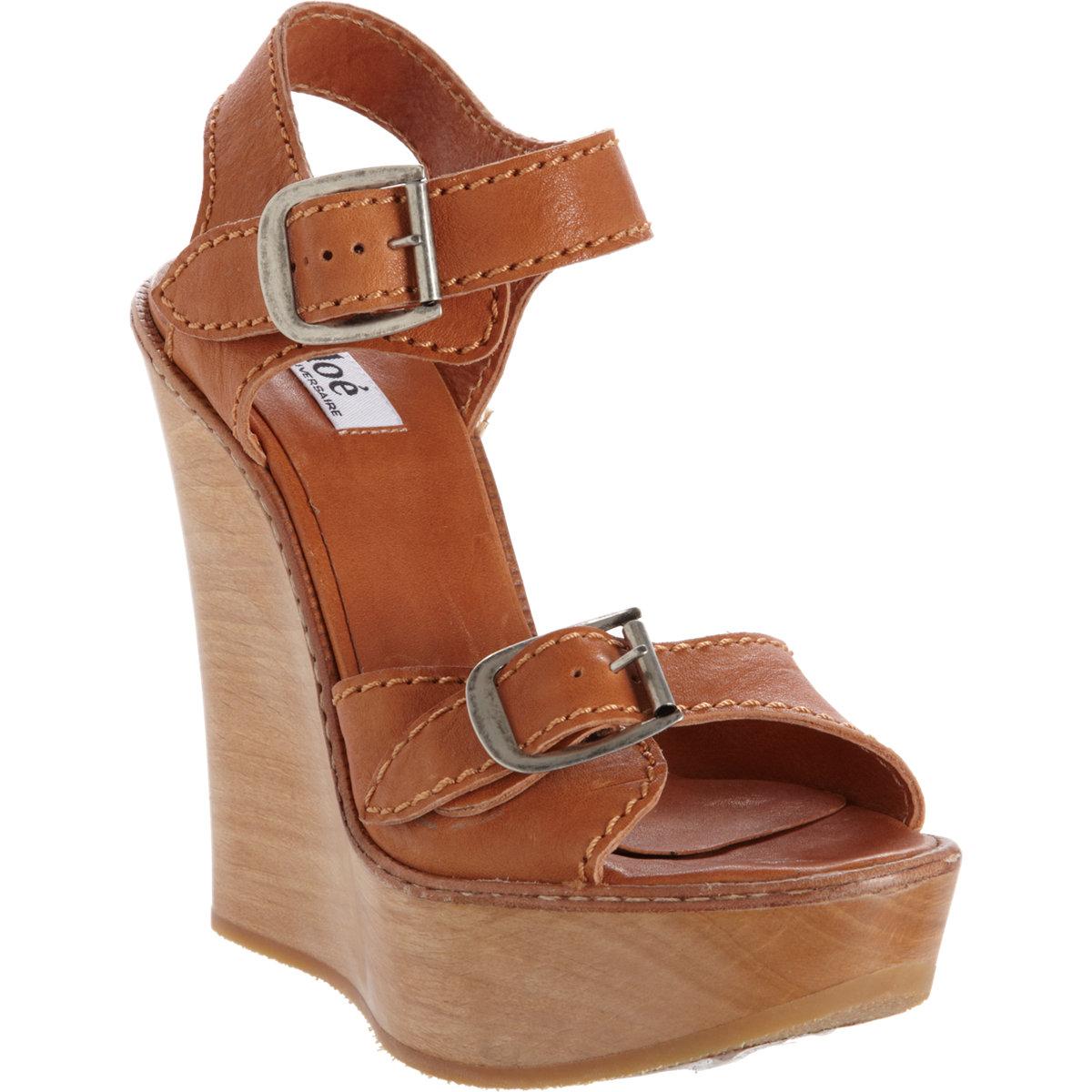 Chloé buckle strap wedge sandal at barneys.com