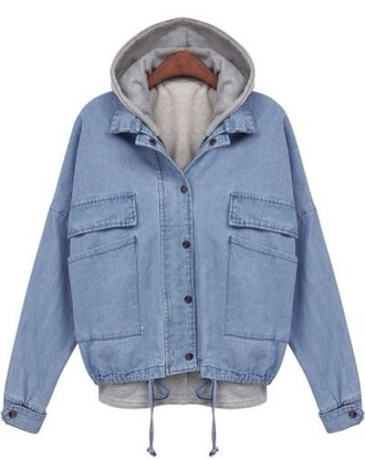 jacket denim jacket hoodie denim blue outfit style ootd denim jacket light wash