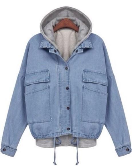 jacket hoodie denim light wash denim jacket denim jacket blue outfit style ootd