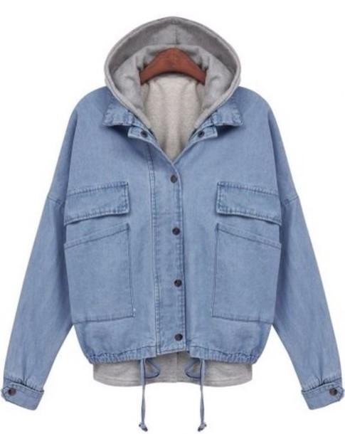 Jacket blue jean jacket hoodie jeans denim blue ...