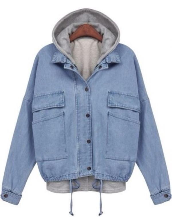 jacket blue jean jacket hoodie jeans denim blue outfit style ootd denim jacket acid wash denim jacket hooded jeanjacket hooded jacket grunge hipster pretty 80s style 90s style love vintage retro cute old school coat