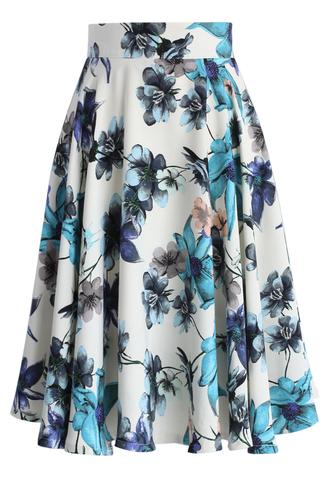 skirt blue camellia a-line skirt chicwish a-line skirt floral skirt summer skirt