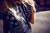 shirt,dope,blond,amazing,asap,fashion,killa,fashion killa,outfit,t-shirt,bandana print,ASAP Rocky,black,white,top,streetwear