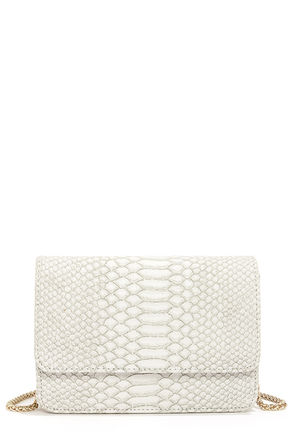 Cute Snakeskin Purse - Ivory Purse - Ivory Clutch - $45.00