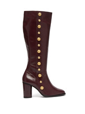 knee-high boots,high,leather,burgundy,shoes