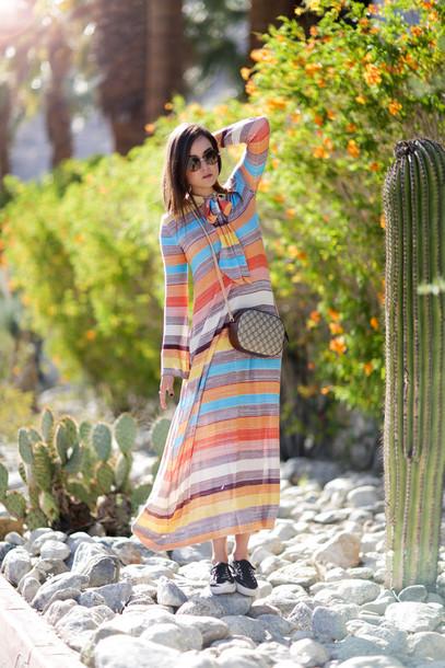 style scrapbook blogger dress bag shoes sunglasses 70s style zara gucci bag superga jimmy choo boho striped dress stripes tie dress colorful boho dress
