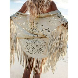 blouse fringes hollow beige beachs sexy