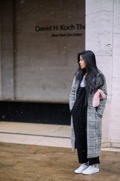 bb56e6c45ce5 kristenglam blogger jumpsuit long coat black jumpsuit stan smith winter coat  jacket bag