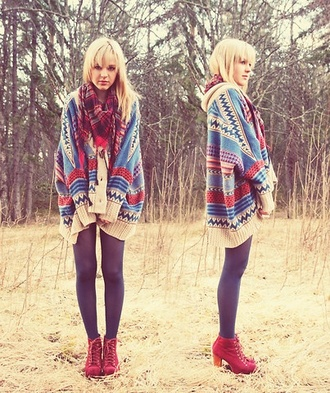 sweater hippie aztec scarf heels leggings shoes fall outfits thick red blue chunky flannel wedges burgundy cardigan boots pattern red boots boho sweater