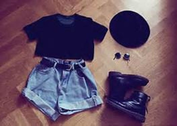 shorts denim indie hipster sunglasses grunge black denim shorts hat
