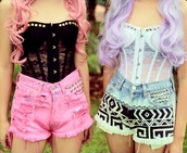 shirt,corset,studded,bustier,bralette,dyed shorts,studded shorts,aztec,hipster,shorts,white,black,crop tops,tank top,corset top,black and white,lace corset,studs,cute,top,black top,white top,cute top,sexy lingerie,lingerie,grunge top,grunge,colored jeans,cute shorts,fashion,style,festival,indie,High waisted shorts,kawaii,denim shorts