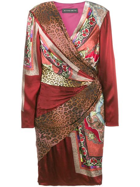 dress wrap dress women print silk red