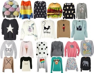 sweater jumpe cute love shirt floral animals patter aztec burger food graphic heart stars style jennifer lawrence graphic sweater