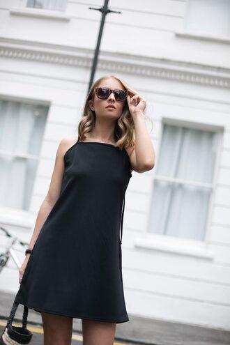 dress tumblr slip dress black dress mini dress little black dress sunglasses