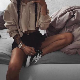 top hoodie women fashion nude cropped sweater
