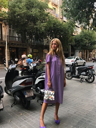 dress tumblr lilac lilac dress shirt dress midi dress gingham gingham dresses shoes pointed toe bag floral handbag short sleeve dress