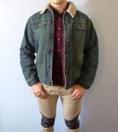 jacket,denim jacket,grunge jean jacket,denim jacket vintage coat,shearling jacket,vintage,etsy,grunge,manor,36683,shearling denim jacket