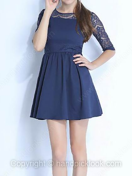 Dark Blue Round Neck Half Sleeve Lace Dress - HandpickLook.com